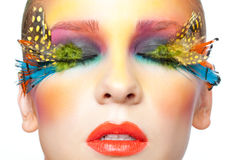 Woman with false feather eyelashes makeup Stock Image