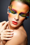 Woman with false feather eyelashes makeup Royalty Free Stock Images