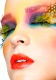 Woman with false feather eyelashes makeup Royalty Free Stock Photos