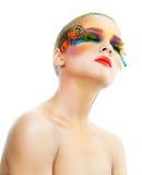 Woman with false feather eyelashes makeup Stock Photography