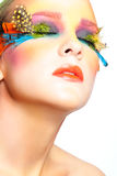 Woman with false feather eyelashes makeup Royalty Free Stock Photography