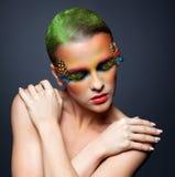 Woman with false feather eyelashes makeup Stock Photos
