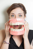 Woman false teeth Royalty Free Stock Images