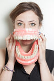 Woman false teeth Royalty Free Stock Image