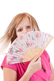 Woman with fan Royalty Free Stock Photos