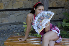 Woman And Fan Royalty Free Stock Photo