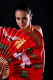 Woman with fan Stock Images