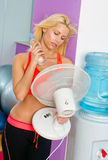 Woman with fan Stock Photography
