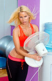 Woman with fan Royalty Free Stock Photo