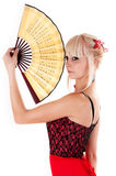 Woman with a fan Stock Photo