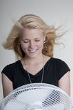 Woman with fan Stock Photos