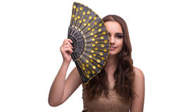 The woman with fan isolated on white Royalty Free Stock Photography