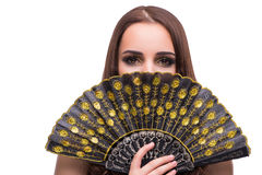 The woman with fan isolated on white Royalty Free Stock Photos
