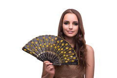 The woman with fan isolated on white Royalty Free Stock Image