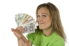 Woman with fan of money Stock Photography