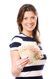 Woman with a fan of money Royalty Free Stock Photos