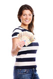 Woman with a fan of money Stock Images
