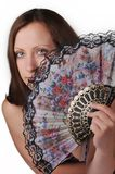 Woman with fan portrait Royalty Free Stock Image