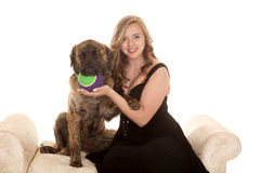 Woman fancy dress and dog Stock Photos