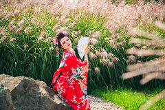 Woman with fancy makeup as Japanese Geisha in garden Stock Photography