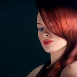 Woman with fancy hairstyle stock photos