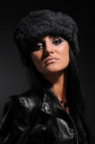 Woman in a fancy russian hat Royalty Free Stock Photo
