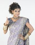 Woman with fancy  sari saying challenge Royalty Free Stock Image