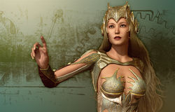 Woman in a fantasy armor vector illustration