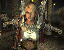 Woman in fantasy armor Stock Photo
