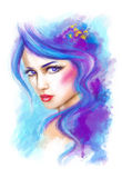 Woman fantasy beautiful portrait .abstract illustration Stock Images