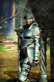 Woman fantasy knight. A woman fantasy knight with a forest in background in 3D Stock Photography