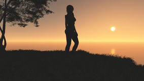 Woman On Fantasy Sunset Hill. Beautiful and elegant woman standing on top of a hill looking to the horizon in a fantasy sunset environment Stock Images