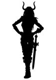 Woman fantasy warrior with a sword silhouette Stock Photos