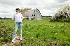 Woman on farm Royalty Free Stock Photos