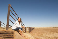 Woman on farm in outback Australia Royalty Free Stock Photo