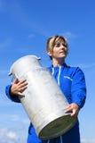 Woman farmer in blue sky Royalty Free Stock Image