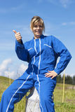 Woman farmer with thumb up Royalty Free Stock Image