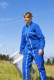 Woman farmer walking Royalty Free Stock Photo