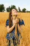 Woman farmer with wheat Royalty Free Stock Photos