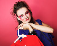 Woman of fashion. Shopping. Young woman going to buy new clothing Royalty Free Stock Photos