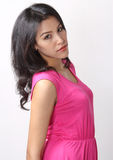 Woman fashion. Image of beautiful asian woman fashion in pink dress Royalty Free Stock Photos