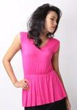 Woman fashion. Image of beautiful asian woman fashion in pink dress Stock Photography