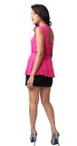 Woman fashion. Image of beautiful asian woman fashion in pink dress royalty free stock images
