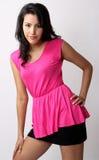 Woman fashion. Image of beautiful asian woman fashion in pink dress stock images