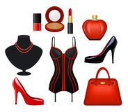 Woman  Fashion Accessories Set Royalty Free Stock Image