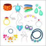 Woman Fashion Accessories Set with Rings and Jewelry Royalty Free Stock Image