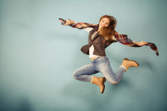 Woman fashion autumn girl jumping Stock Photography