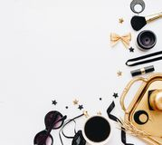 Woman fashion background concept. Blogger Flat lay,. Top view accessories Royalty Free Stock Images