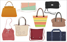Woman fashion bags collection. Casual female handbag front  icons set. Royalty Free Stock Photography