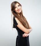 Woman fashion beauty portrait. Evening black dress Stock Image